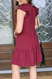 Sentimental Feelings Mock Neck Dress - Burgundy