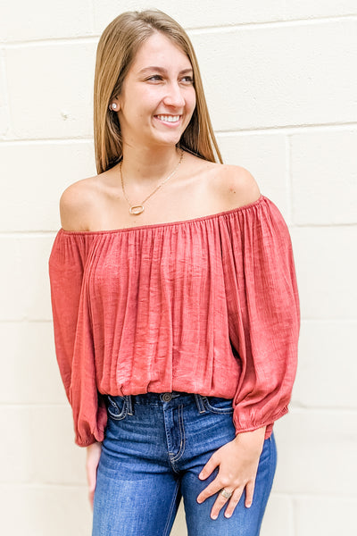 Seriously in Love Off Shoulder Cropped Top - Marsala