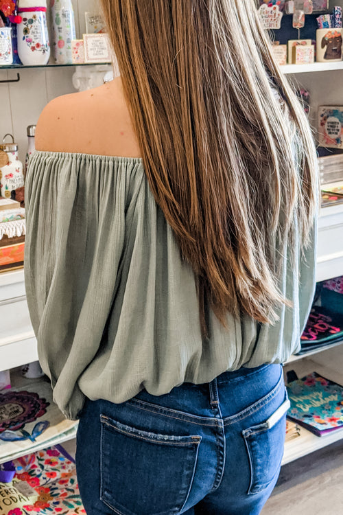 Seriously in Love Off Shoulder Cropped Top - Sage