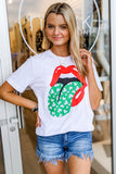 Shamrock Tongue Rock & Roll Graphic Tee - White