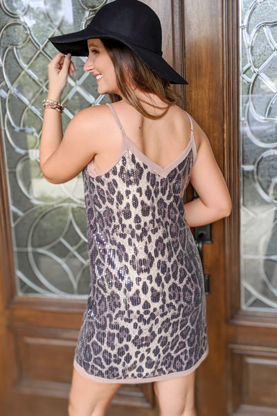 Shine Bright Leopard Sequin Dress - Mocha
