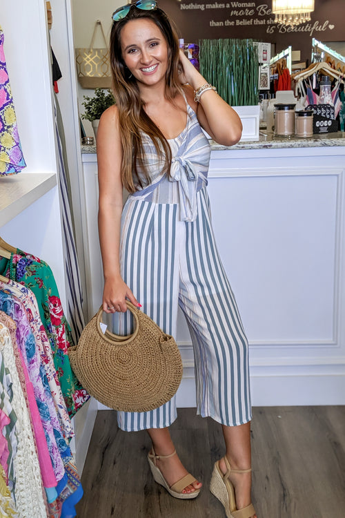 Show Me the Stripes Sleeveless Jumpsuit - Sage
