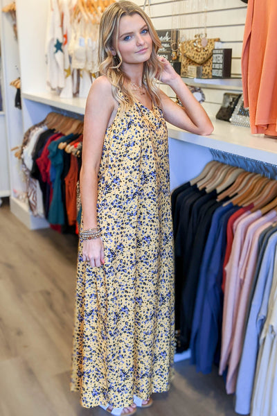 Show Your Colors Printed Maxi Dress - Yellow Combo