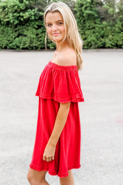 Show Your Passion Off Shoulder Ruffle Dress - Jester Red