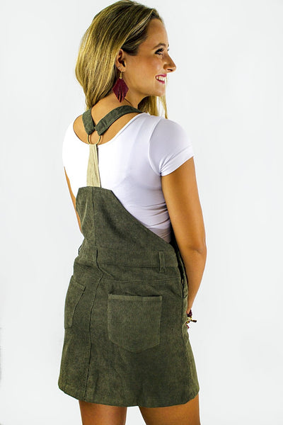 Showing Off Overall Dress - Olive