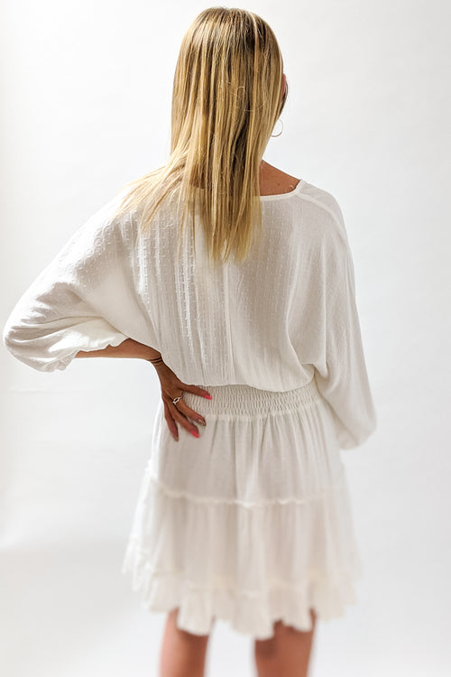 Signs of Hope Tiered V-Neck Dress - Off White