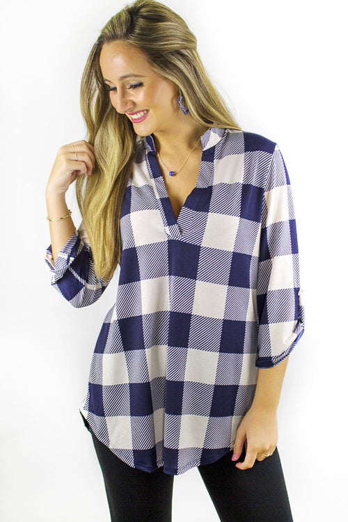 Simply Checkered Top - Navy