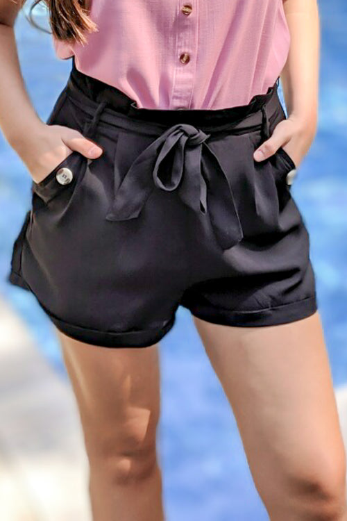 Simply Styled Paperbag Shorts - Black