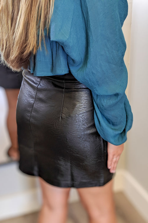 Skye Leather Mini Skirt - Black