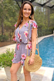 Smell the Flowers Romper - Cool Gray