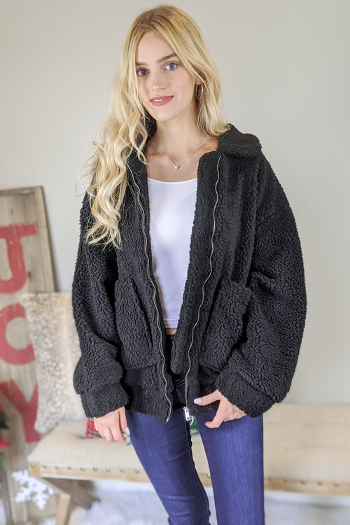 Snuggle Me Close Teddy Bear Jacket - Black