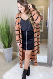 Snuggled Love Striped Longline Cardigan - Camel/Black