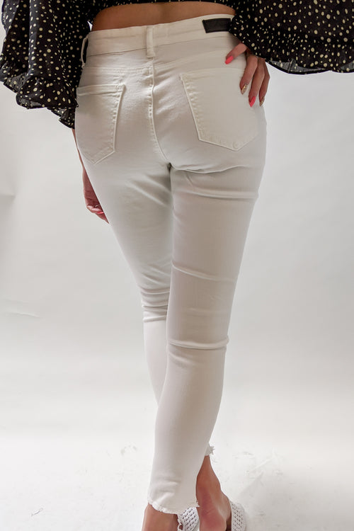 Sofia Distressed Skinny Jeans - White