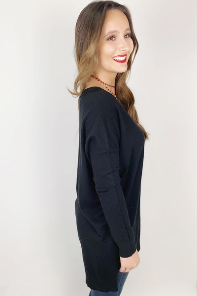 Soft & Cozy V-Neck Sweater - Black