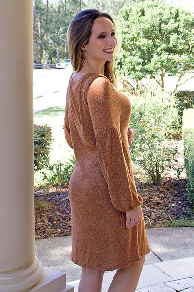 Softer Autumns Sweater Dress - Cinnamon