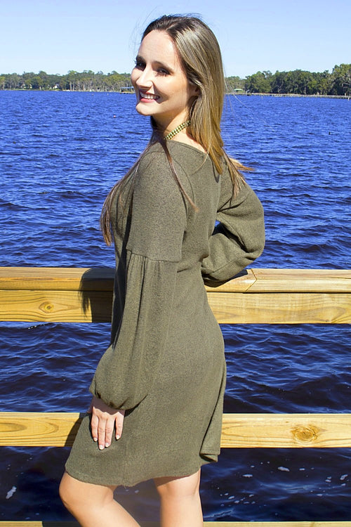 Softer Autumns Sweater Dress - Olive