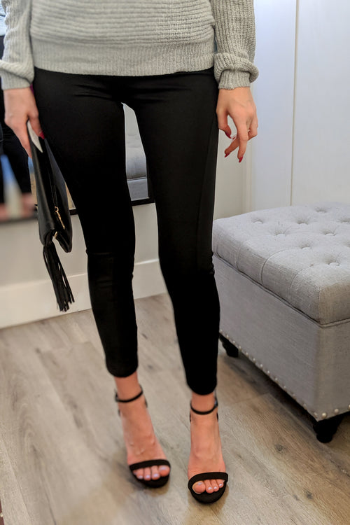 Solid Panel Leggings - Black