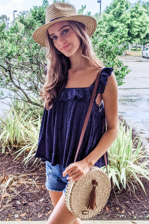Someone to Hold Swiss Dot Square Neck Top - Navy
