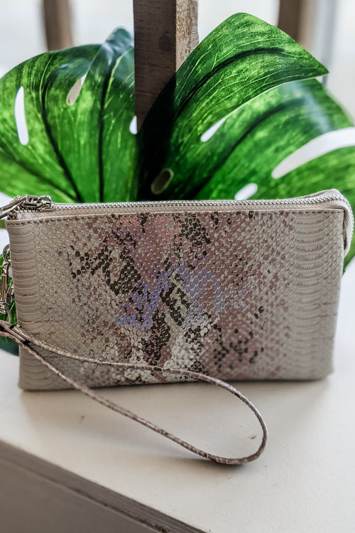 Sophie Metallic Snakeskin Cross Body Bag - Pink