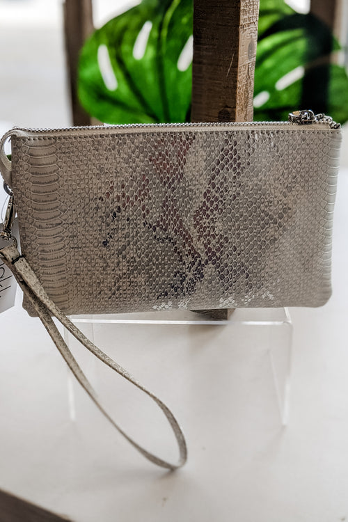 Sophie Metallic Snakeskin Cross Body Bag - Silver