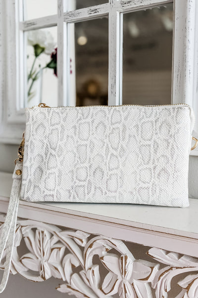 Sophie Shimmer Snakeskin Cross Body Bag - White