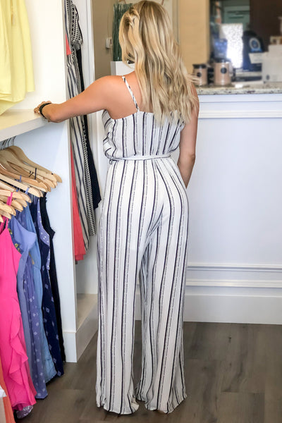 Sophisticated Stripes Jumpsuit - Black/Ivory