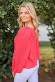 Speak With Love Peasant Top - Coral