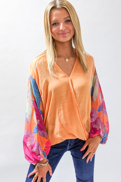 Spring Fling Printed Puff Sleeve Top - Cantaloupe