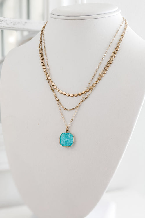 Square Bead & Stone Layer Necklace - Aqua