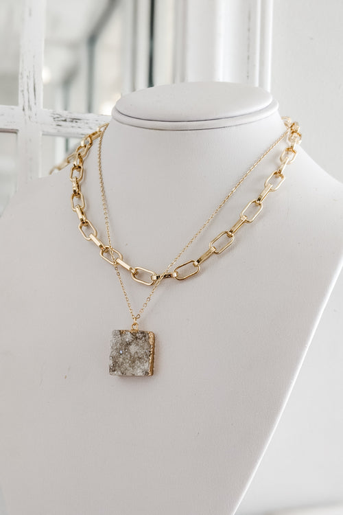 Square Druzy Layer Necklace - White