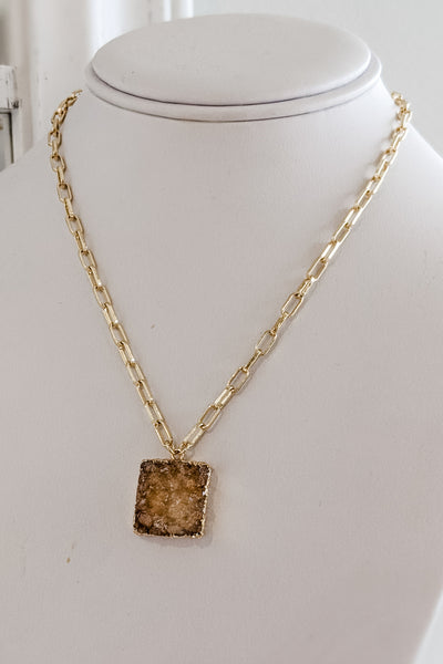Square Druzy Pendant Necklace - Beige