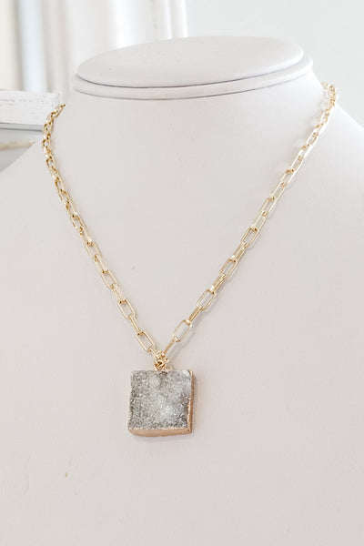 Square Druzy Pendant Necklace - White