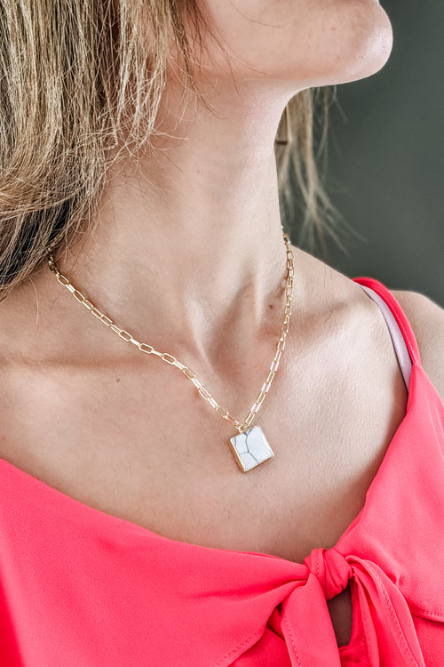 Square Stone Pendant Necklace - Howlite