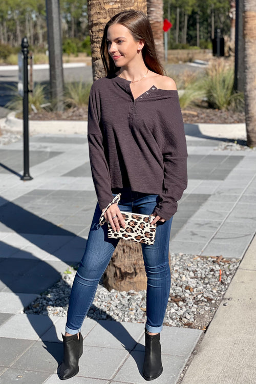Stand With You Brushed Rib Henley Knit Top - Charcoal