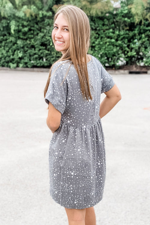 Star Gazing Printed Babydoll Dress - Forest