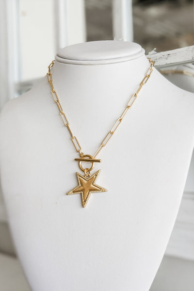 Star Pendant Chain Necklace - Satin Gold