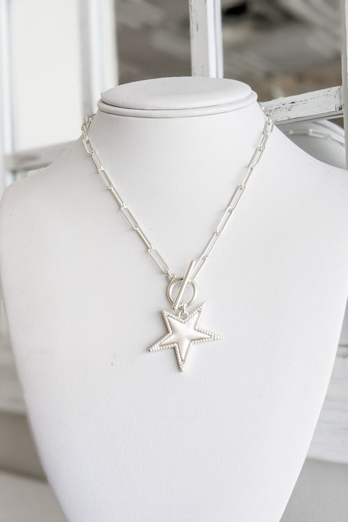 Star Pendant Chain Necklace - Satin Silver