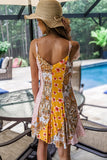 Staring at the Sunset Patchwork Print Panel Dress - Honey
