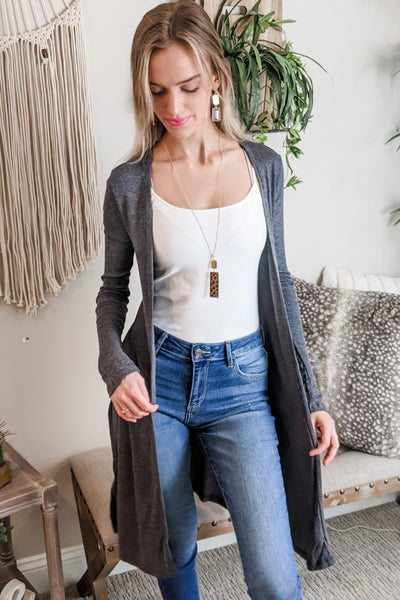 Stay With Me Open Front Cardigan - Charcoal