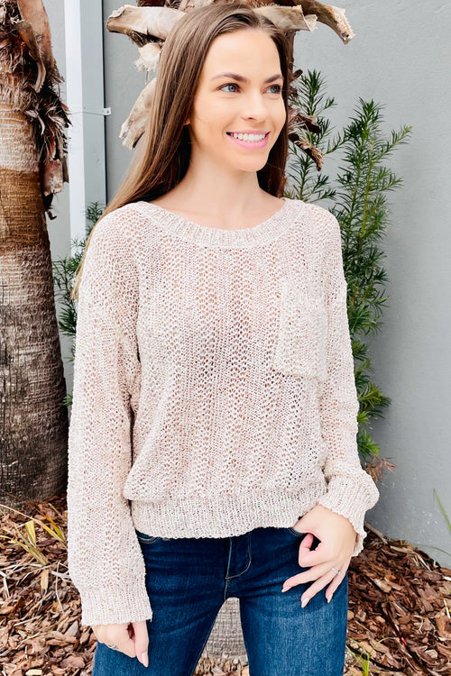 Staying Cozy Multi Color Yarn Knit Sweater - Natural