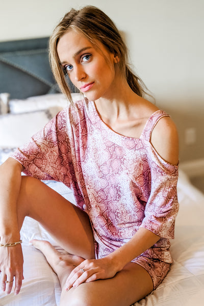 Staying Hopeful Snake Print Cold Shoulder Top - Mauve
