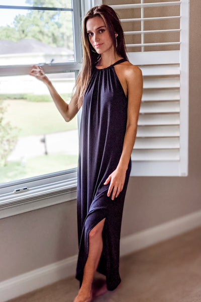 Steal the Show Sleeveless Halter Maxi - Black