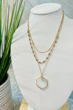 Stone Hexagon & Bead Layer Necklace - Howlite