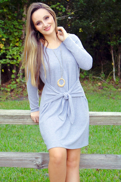 Straight into Fall Dress - Heather Gray