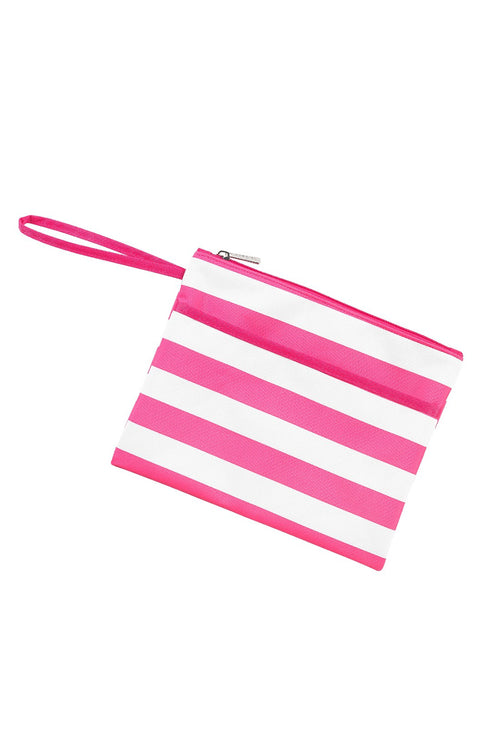 Striped Zip Pouch Wristlet - Hot Pink