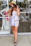 Striped Summertime Wrap Dress - Taupe/Blue