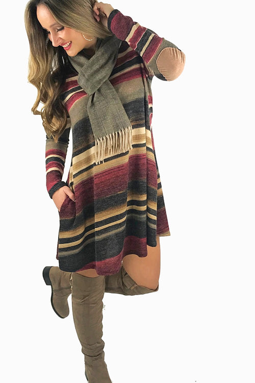 Striped in Warmth Dress - Burgundy