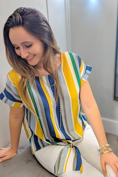 Strutting Stripes Top - Blue Multi