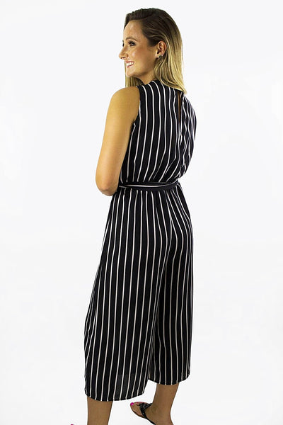Stylish Stripes Sleeveless Jumpsuit