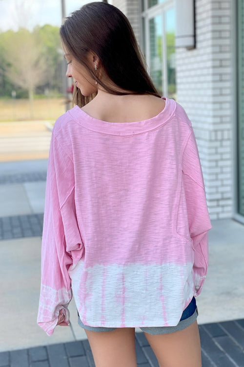 Such a Delight Ombre Tie-Dye V-Neck Top - Pink